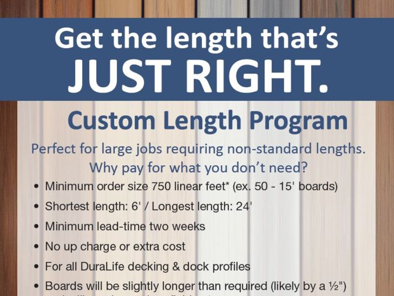 Biddeford, ME – February 26, 2020 – DuraLife, a leading manufacturer of composite decking and railing, is proud to offer the DuraLife Custom Length Program for its...